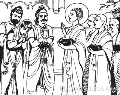 Painting Of Bimbisara And Lord Buddha