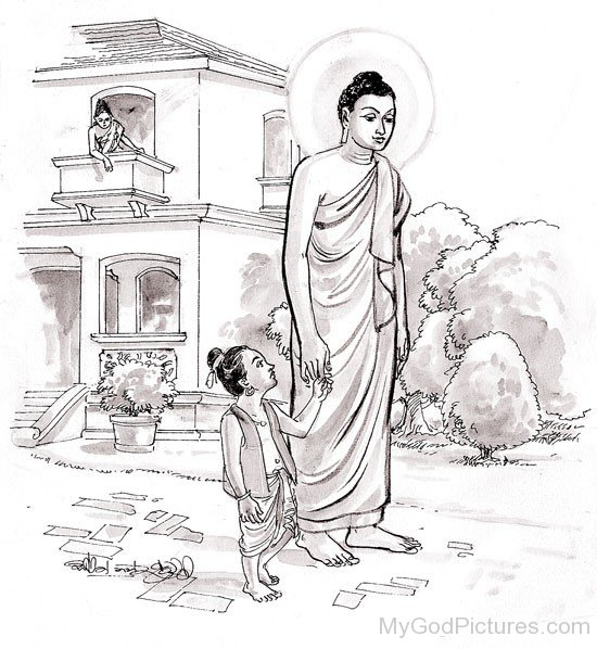 Portrait Of Prince Rahula And Gautama Buddha