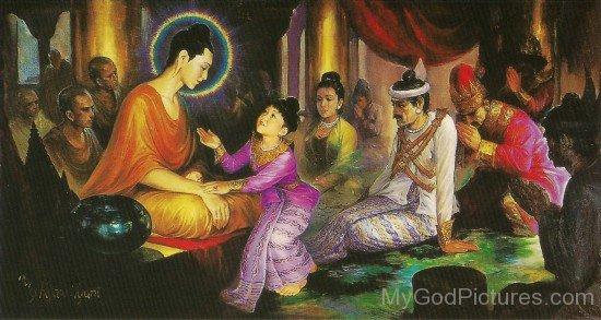 Prince Rahula With Gautama Buddha