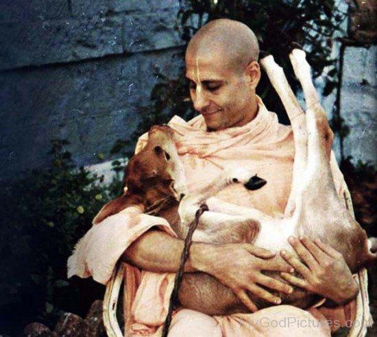 Radhanath Swami Holding Small Calf