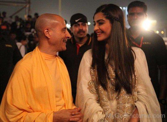 Radhanath Swami Ji With Sonam Kapoor