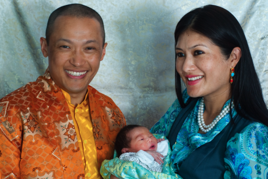 Sakyong Mipham With His Wife And Baby