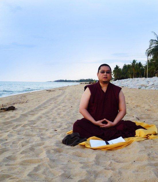 Tsem Tulku Sitting On Sand