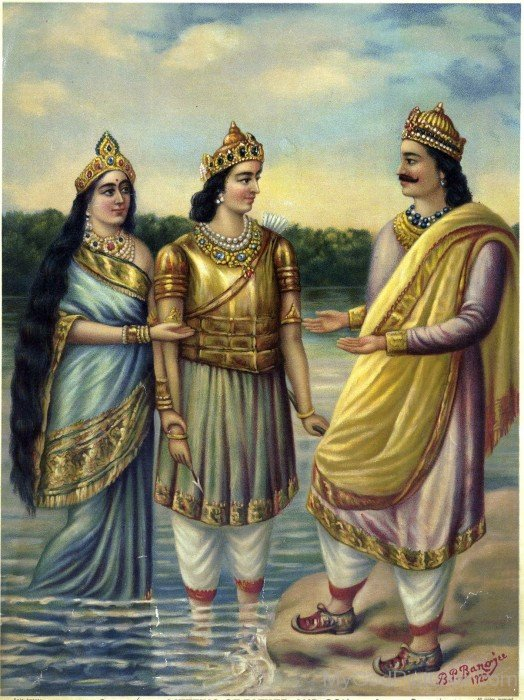 Bhishma With His Father Shantanu And Mother Ganga