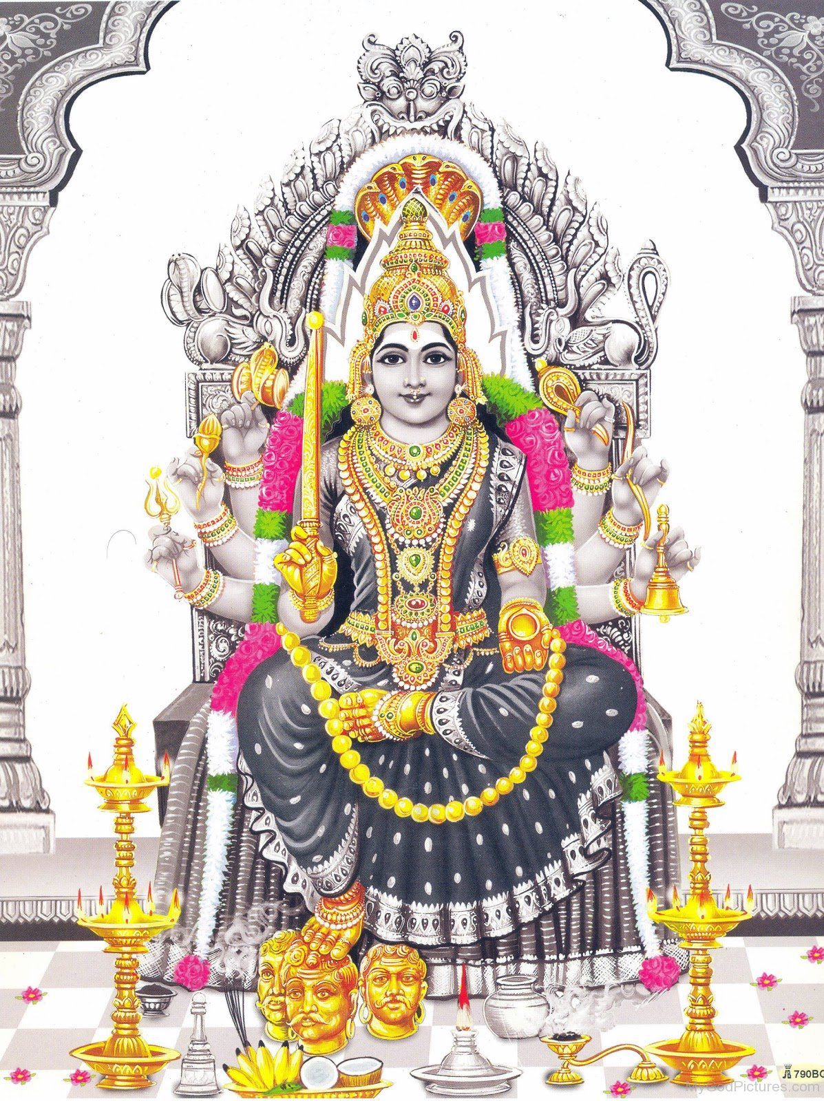 Black And White Background Picture Of Goddess Mariamman