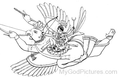 Black And White Image Of Lord Garuda And Lord Vishnu