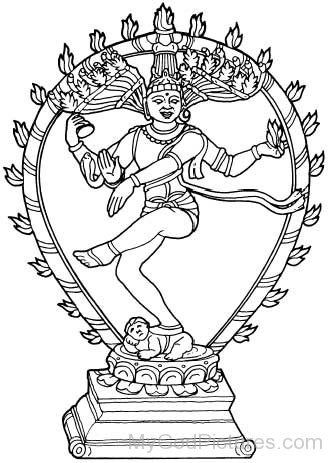 Black And White Image Of Lord Nataraja