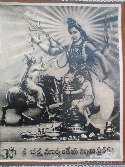 Black And White Image Of Lord Shiva And Markandeya