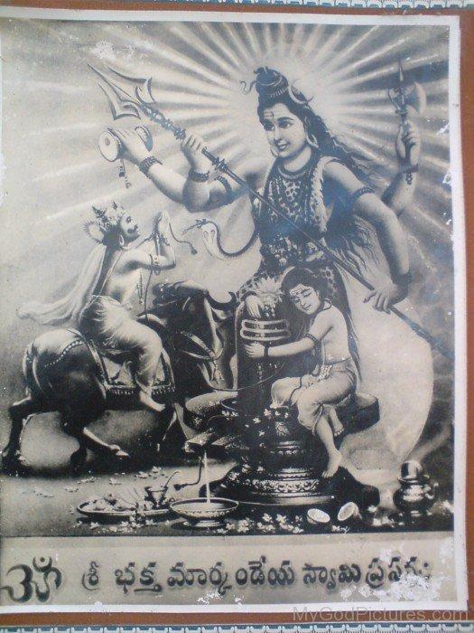 Black And White Image Of Lord Shiva And Markandeya