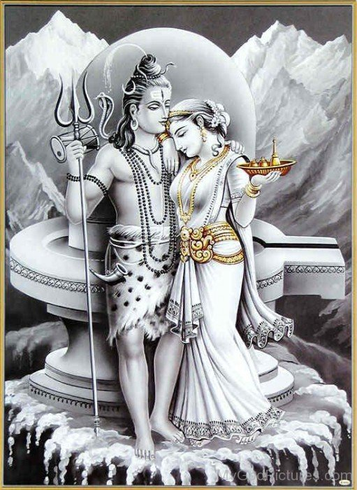 Black And White Picture Of Goddess Parvati And Lord Shiva