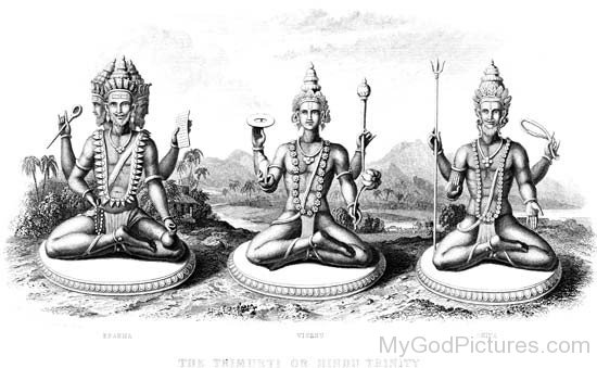 Black And White Picture Of Lord Brahma,Lord Vishnu And Lord Shiva