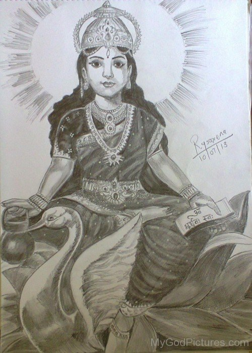 Drawing Of Goddess Gayatri