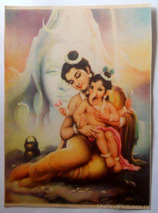 Frame Image Of Goddess Parvati And Little Lord Ganesha
