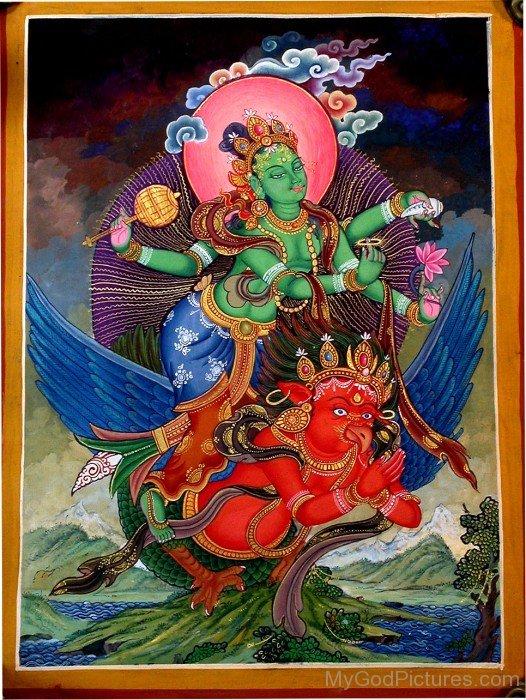 Garuda And Lord Vishnu Frame Picture