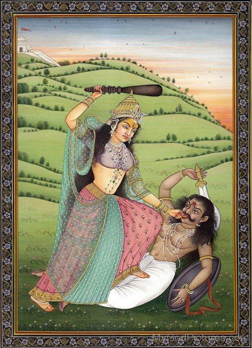 Goddess Bagalamukhi Holding Assur's Toungue