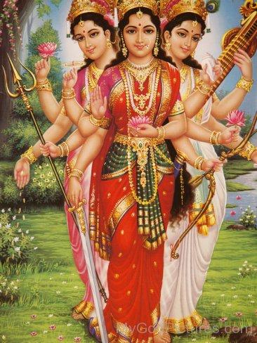 Goddess Parvati,Lakshmi And Saraswati