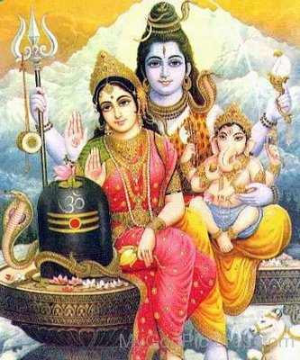 Goddess Parvati,Lord Shiva And Lord Ganesha