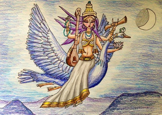 Goddess Saraswati Drawing