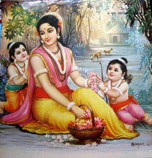 Goddess Sita With Her Sons