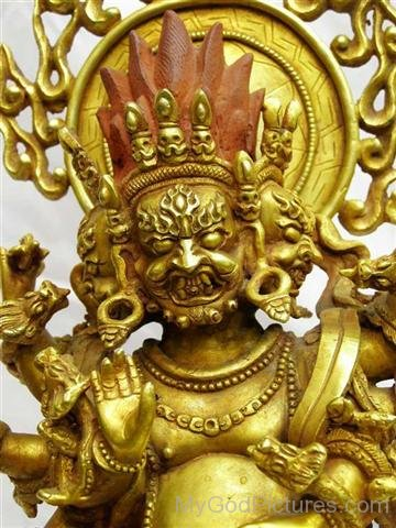 Golden Sculpture Of Akash Bhairav