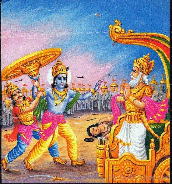Image Of Lord Krishna And Bhishma