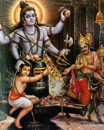 Image Of Markandeya,Lord Shiva And Yamraj