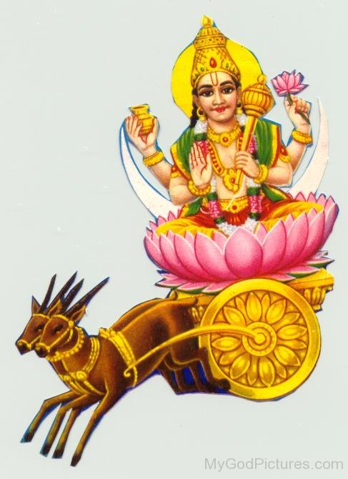 Lord Chandra On His Chariot