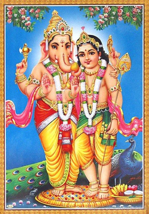 Lord Ganesha And Lord Kartikeya