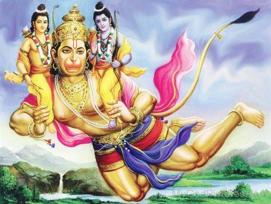 Lord Hanuman Carrying Lord Rama And Lord Lakshmana