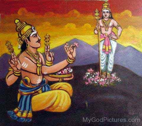 Lord Indra Workships Kartikeya
