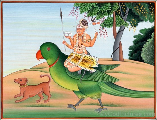 Lord Kamadeva Mount On Parrot