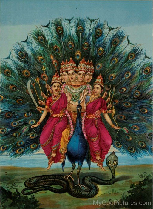 Lord Kartikeya With His Wives