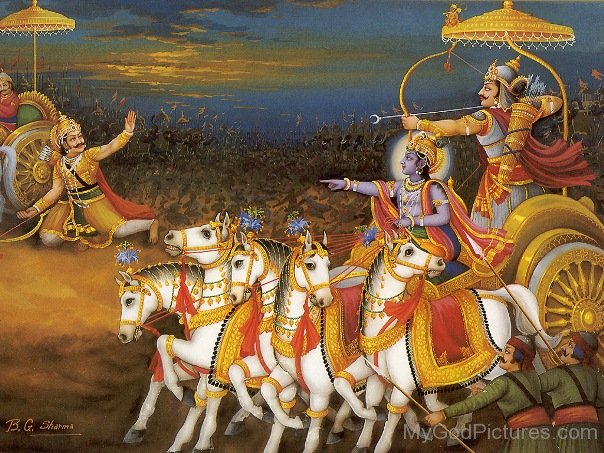 Image result for arjuna and krishna on chariot