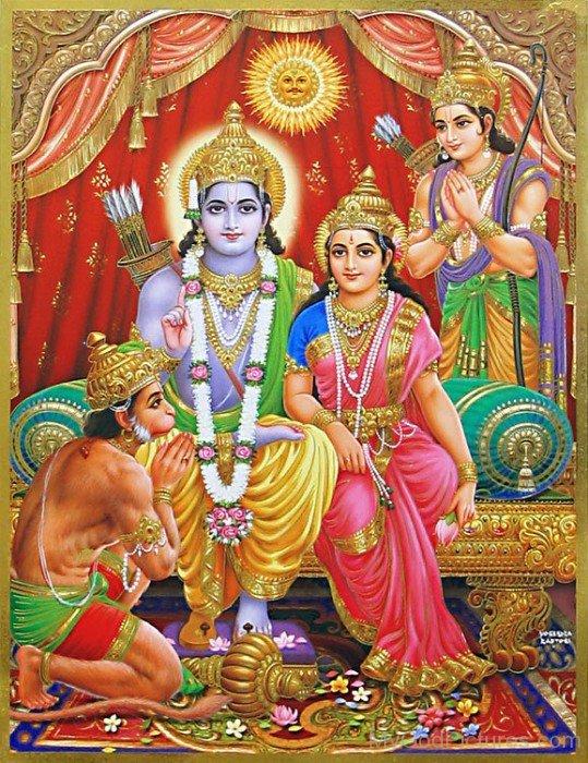 Lord Lakshmana,Lord Rama,Goddess Sita And Lord Hanuman