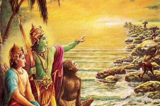Lord Rama And Lakshmana Watching At Bridge