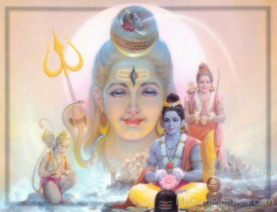 Lord Rama,Lakshmana And Hanuman Worship Lord Shiva
