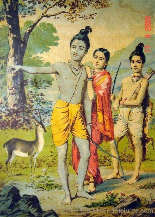 Lord Rama,Lakshmana And Sita In Forest