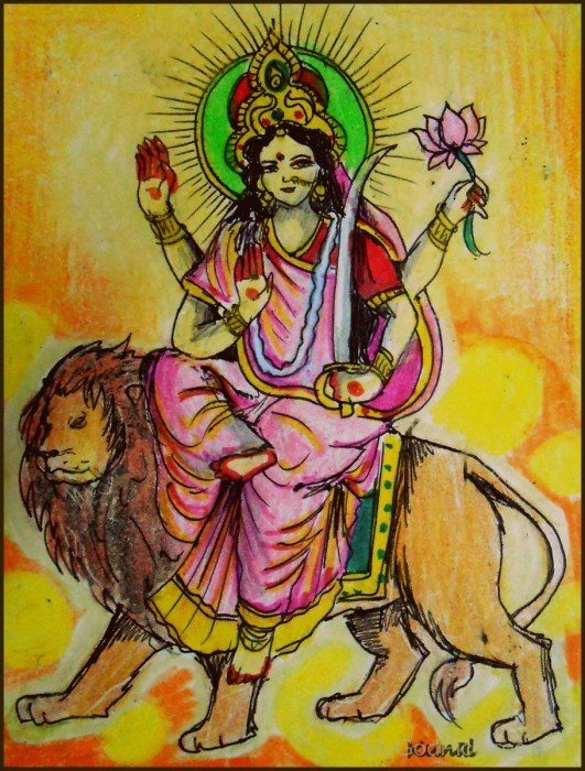 Painting Of Goddess Katyayini