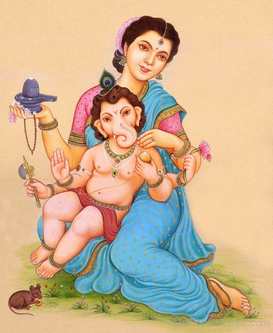 Picture Of Goddess Parvati And Lord Ganesha