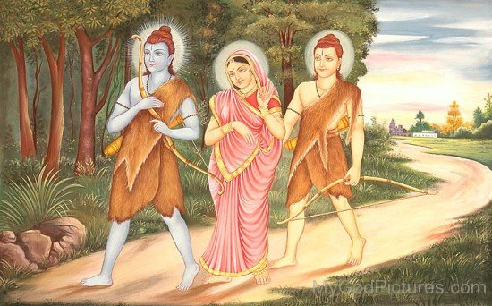 Picture Of Lord Rama,Lord Lakshmana And Goddess Sita