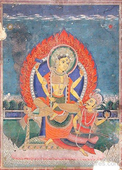 Portrait Of Goddess Bagalamukhi