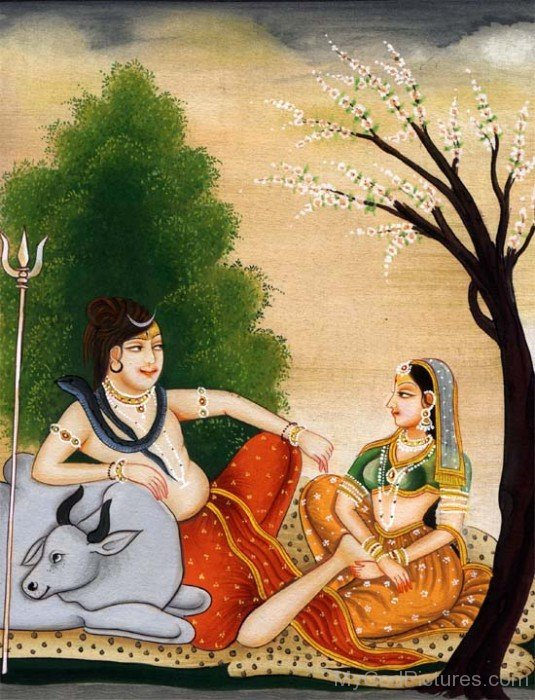 Portrait Of Goddess Gauri And Lord Shiva
