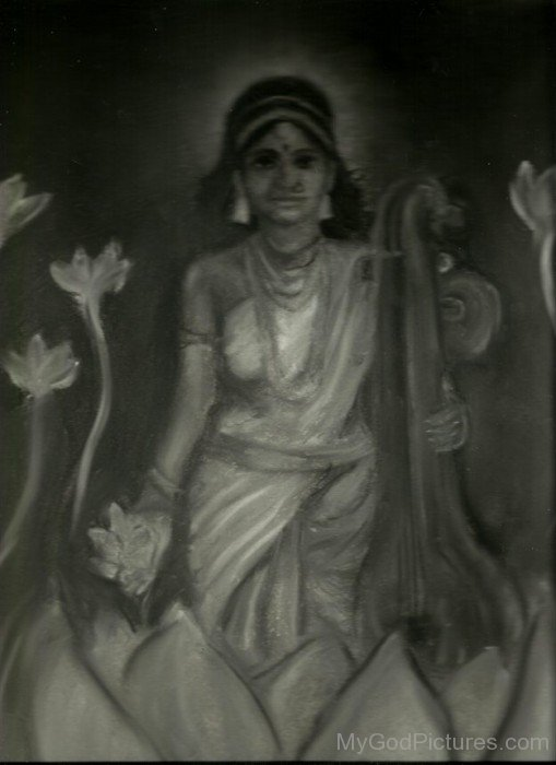 Portrait Of Goddess Saraswati