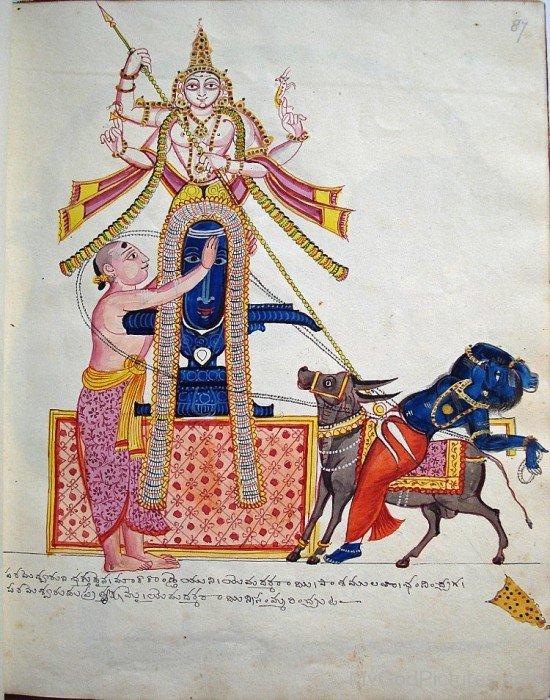 Portrait Of Lord Shiva And Markandeya