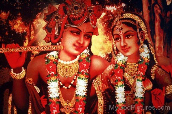 Red Image Of Lord Krishna And Goddess Radha