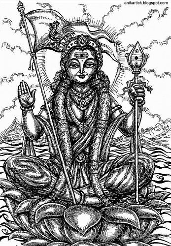Sketch Of Goddess Gayatri