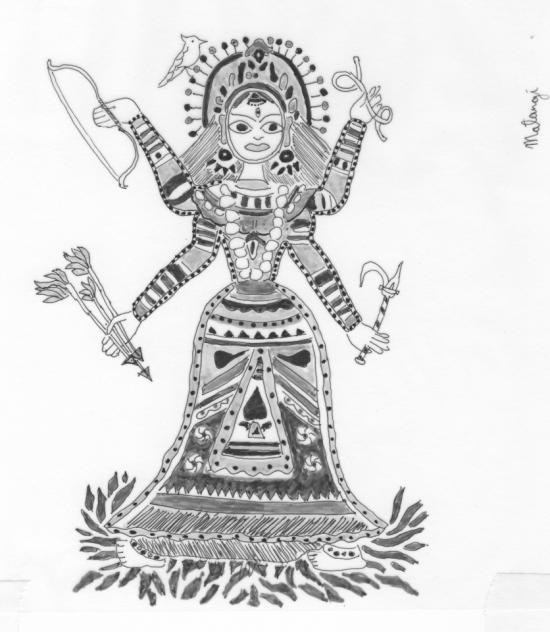 Sketch Of Goddess Kamalatmika