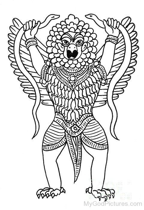 Sketch Of Lord Garuda