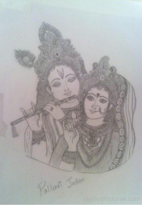 Sketch Of Lord Krishna And Goddess Radha