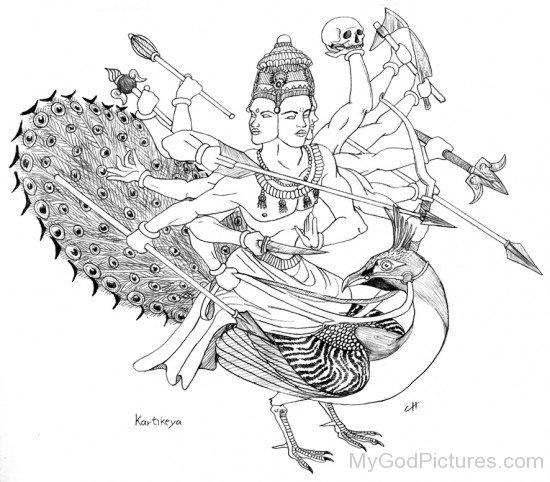 Sketch Of Lord Lord Kartikeya